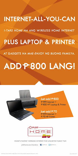 PLDT HomeBro Family Bundle - Internet-All-You-Can, Plus laptop and printer