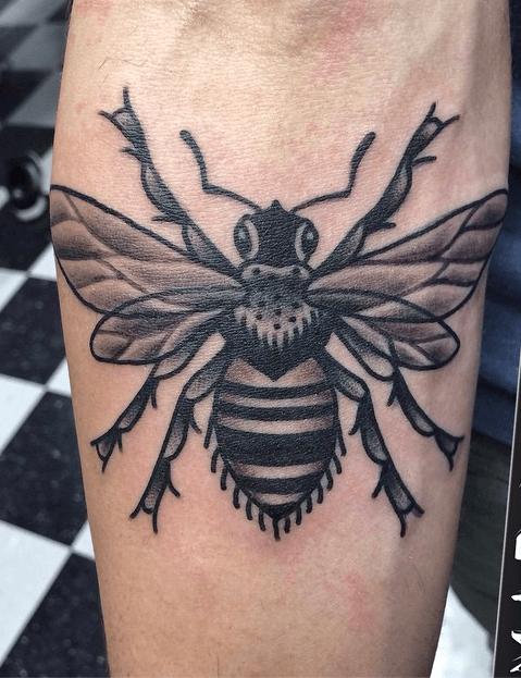 traditional bee tattoo