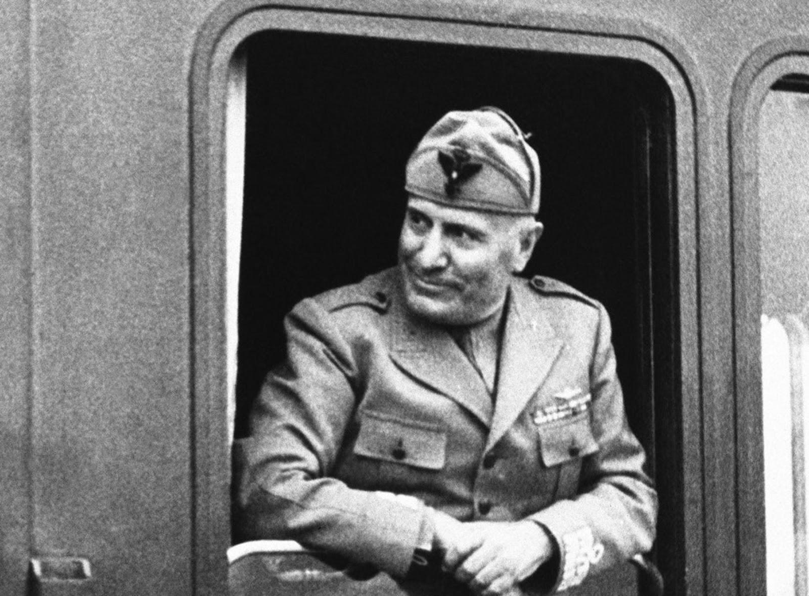 Rail enthusiast Benito Mussolini, in 1943.