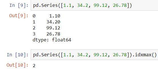 Argmax function in python pandas