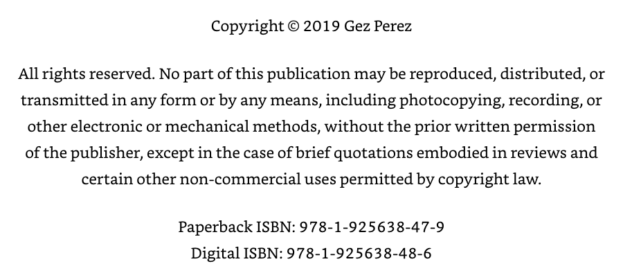 book copyright page with isbn