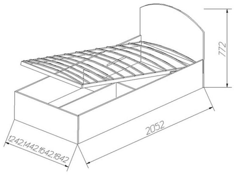 Чертеж кровати с подъемным механизмом