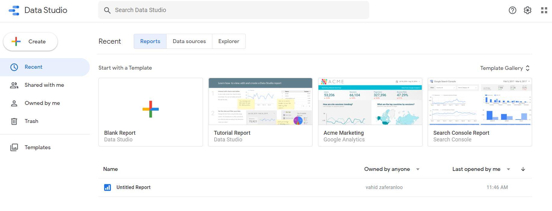 ثبت نام در گوگل دیتا استدیو