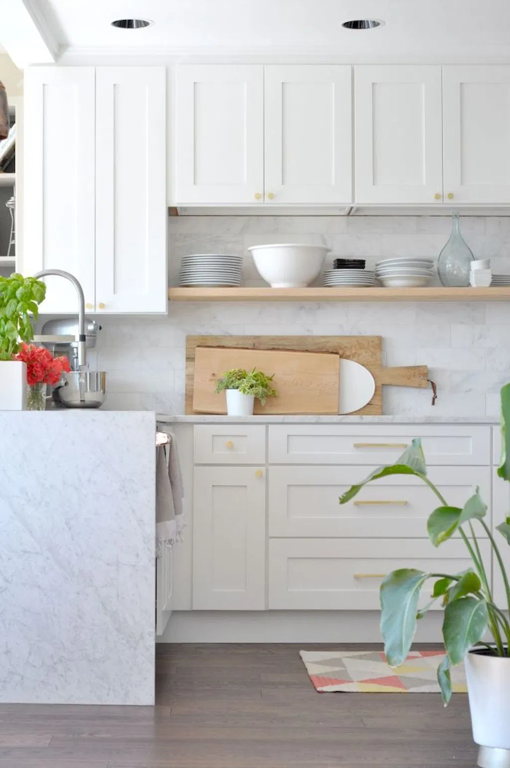 white shaker cabinets in a minimal modern kitchen with plant decor and white backsplash