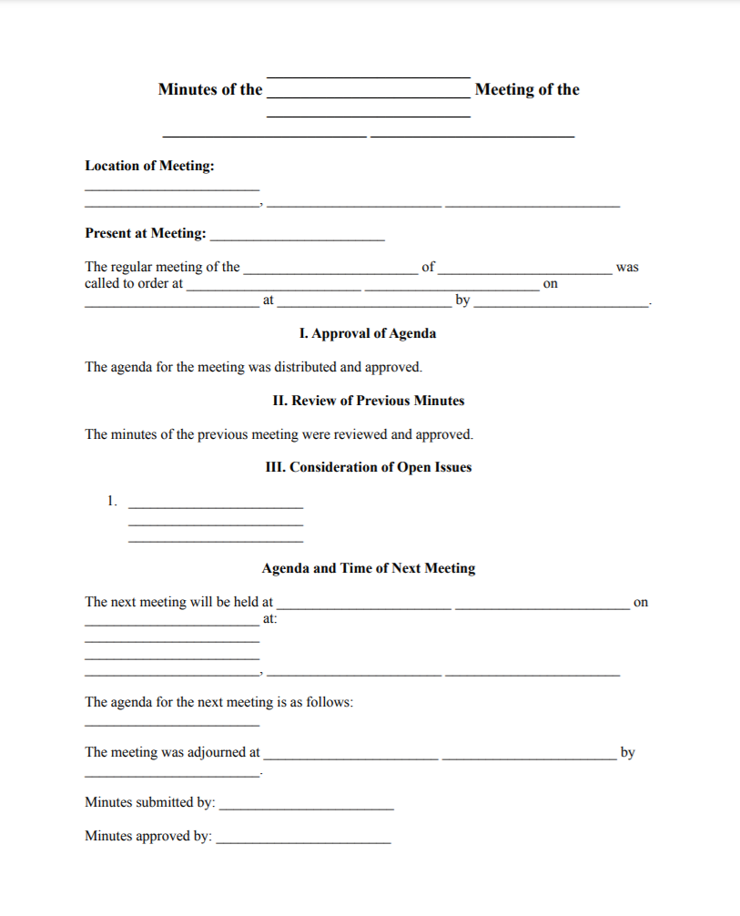 corporate minutes template