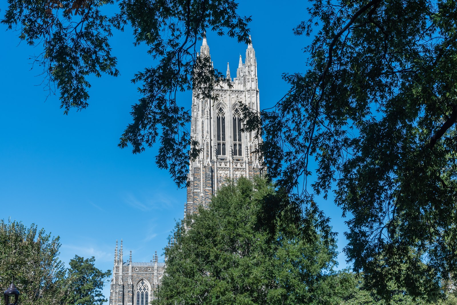 what colleges give full ride scholarships:  front view-of the duke chapel tower