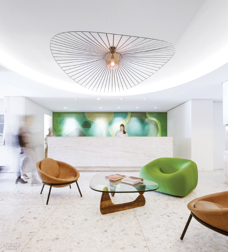 Hotel Lobby, crisp white with green and tan chairs