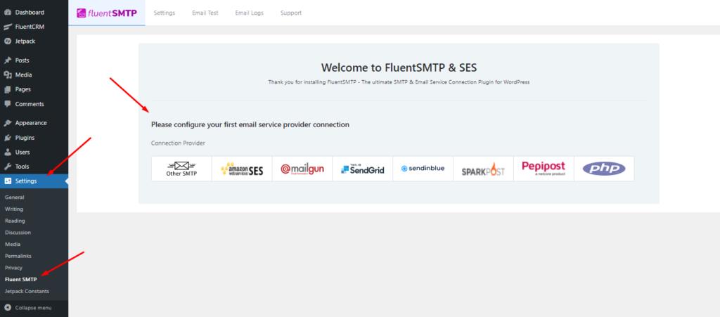 FluentSMTP dashboard, FluentSMTP Email Configuration