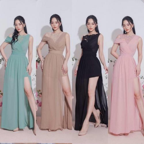 Đầm dạ hội chiffon phối ren cao cấp D446