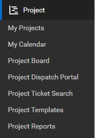 ConnectWise Manage Project management menu and submenu showing the features