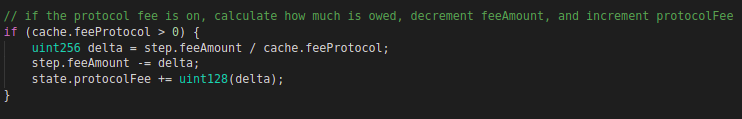 Code block for protocol fee inside swap function