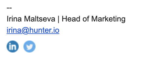 Simple email signature example