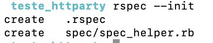 Esta imagem mostra a saída padrão quando usamos o comando rspec --init: foram criados 2 arquivos, o .rspec na pasta raiz e o spec_helper.rb dentro da pasta spec.
