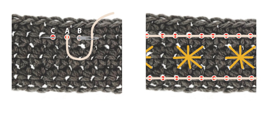 The back stitch on single crochet.  Learn how!