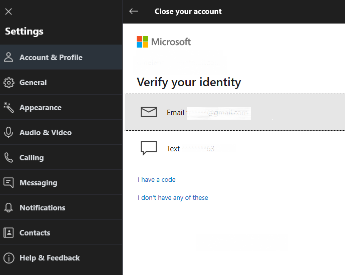 Skype Verify identity