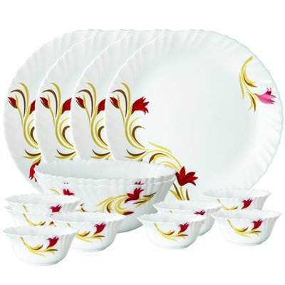 Larah By Borosil Red Lily Opalware Best Dinner Sets In India