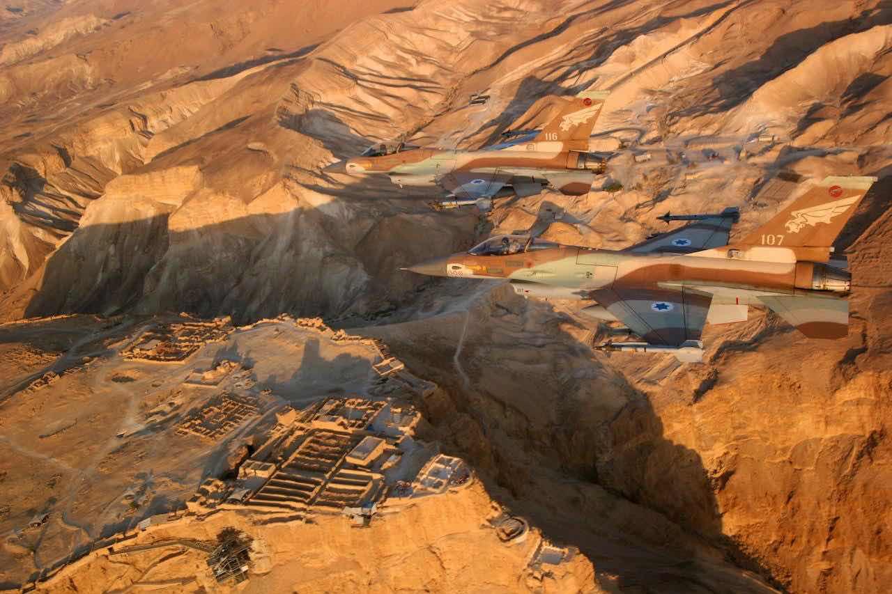 Israeli F-16's in flyby of Masada - IDF Image