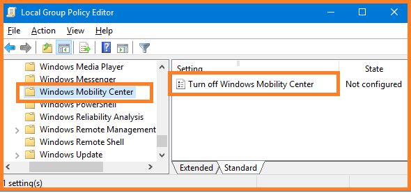 How to Disable the Mobility Center