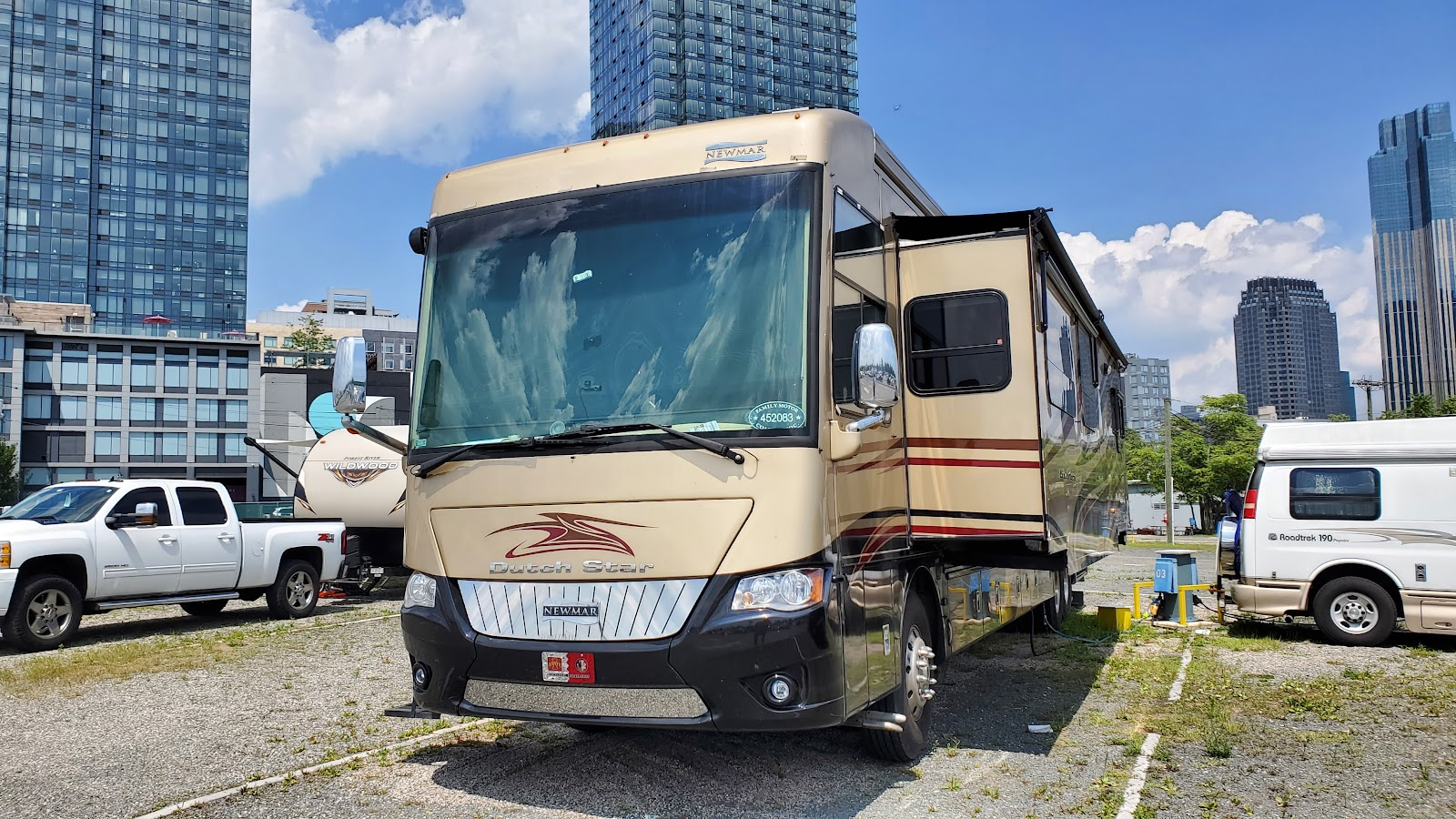 Class A RV parked at campground in NYC