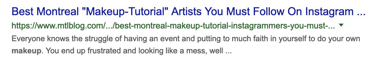 "Google result of mltblog.com - best montreal "" makeup-tutorial "" artists you must follow in instagram"
