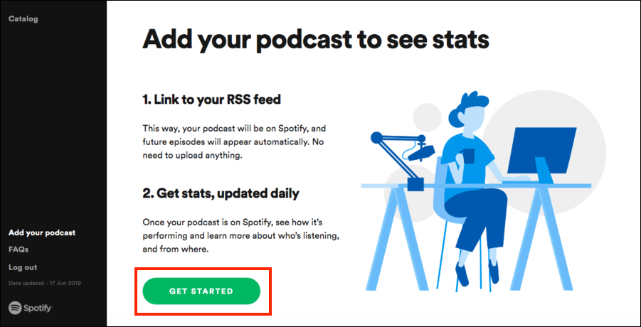 Get started for upload podcast