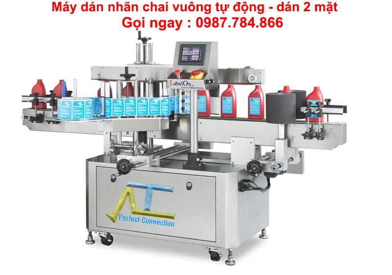 máy dán nhãn 2 mặt tự động, dán 2 mặt chai vuông