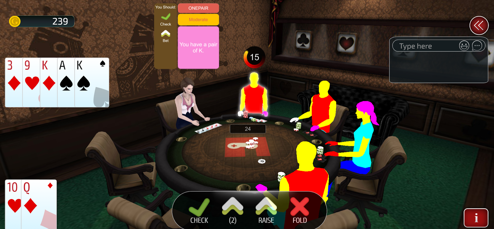 Players learning Poker in Gamentio classroom