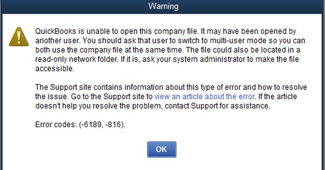QuickBooks Error 6189 Status Code 816