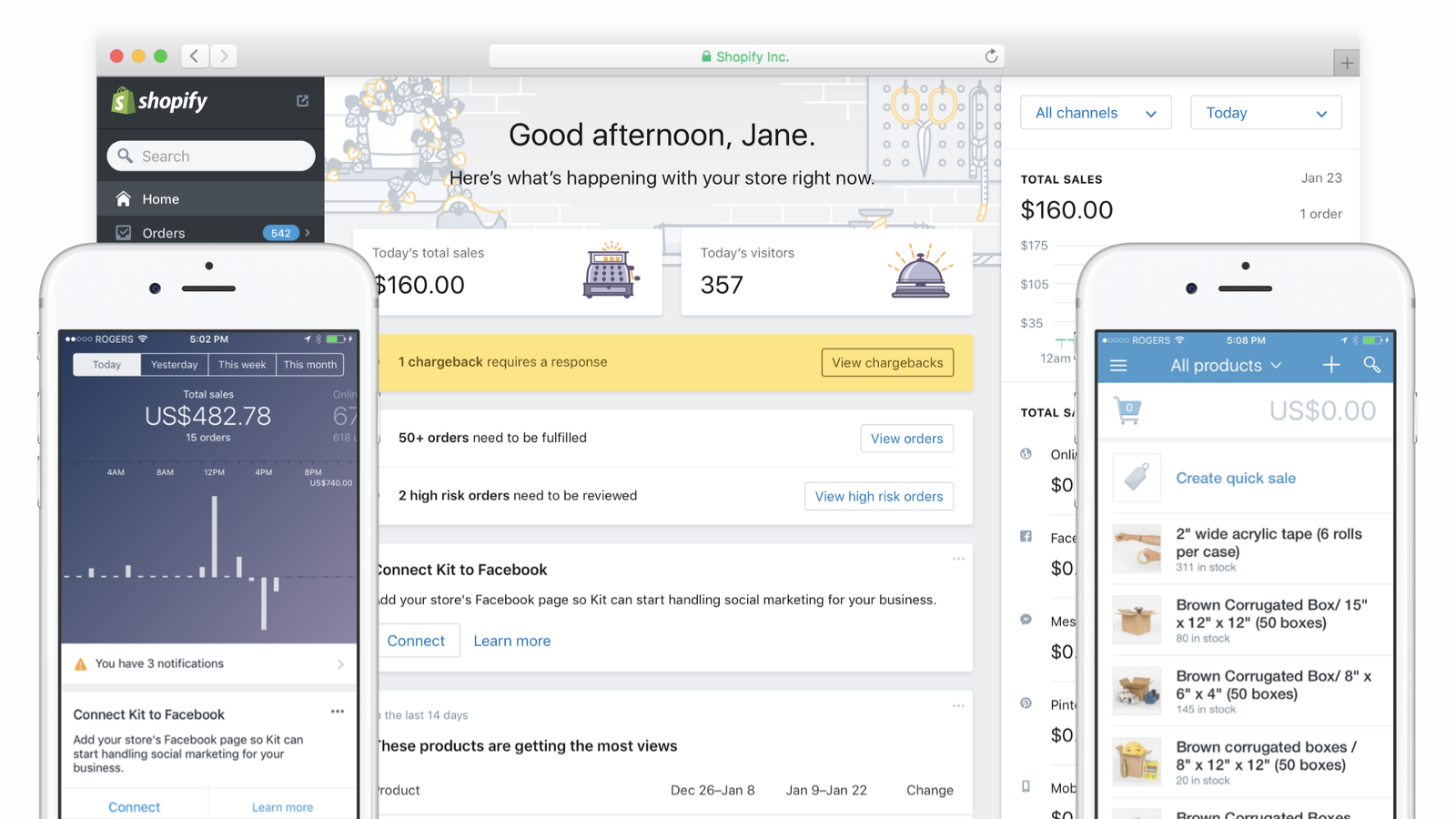A screenshot of Shopify's mobile, web and point of sale interfaces before implementation of the Polaris design system.