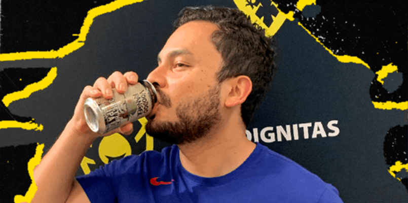 HugS, the captain of the Dignitas Super Smash Bros roster, gets a gulp of Voodoo Ranger