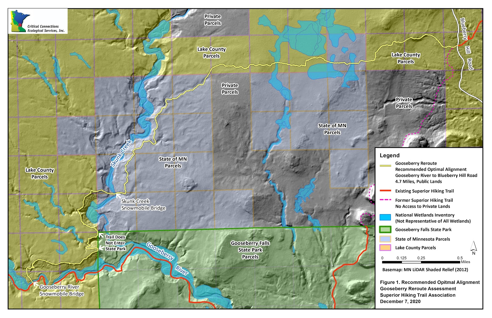 Image displays a topographic map with parcel data of the approved route for the Superior Hiking Trail between Gooseberry Falls State Park and Blueberry Hill Road. The map shows the route exclusively crosses public lands managed by the State of Minnesota and Lake County.