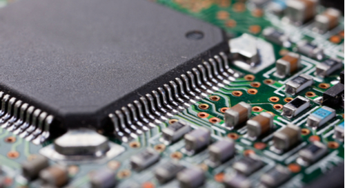 Close up picture of PCB with components on it