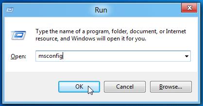 Type msconfig in Run box - Screenshot