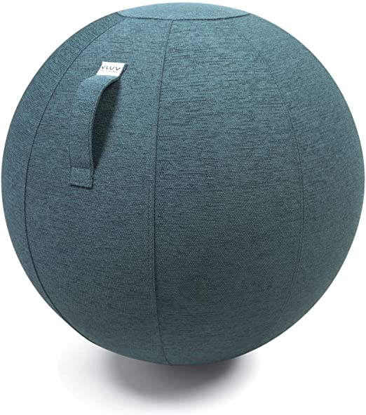 VLUV STOV Premium Quality Self-Standing Sitting Ball with Handle - Home or Office Chair and Exercise Ball for Yoga, Back Stretching, or Gym- Upholstery Fabric Stability Ball