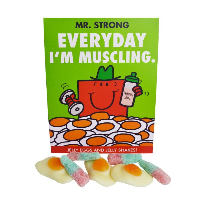 Clintons' box of Mr. Strong Jelly Eggs