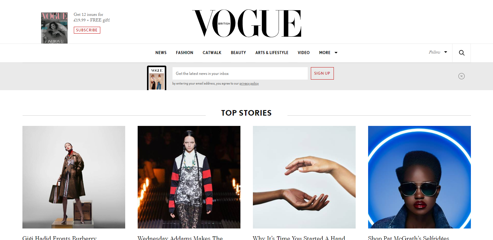 image of vogue wordpress website
