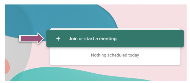 A purple arrow points to the Join or start a meeting field shown in green.