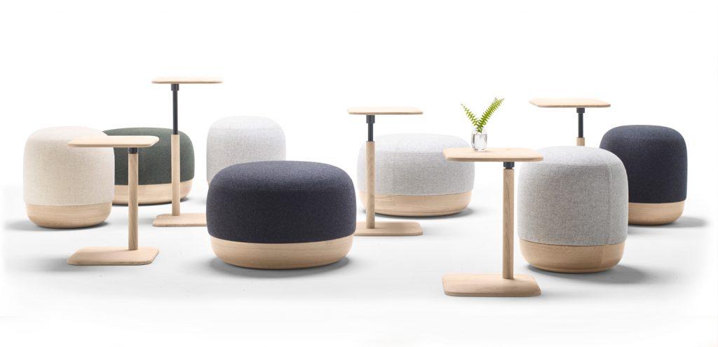 Poufs et tables typiques du style déco scandinave