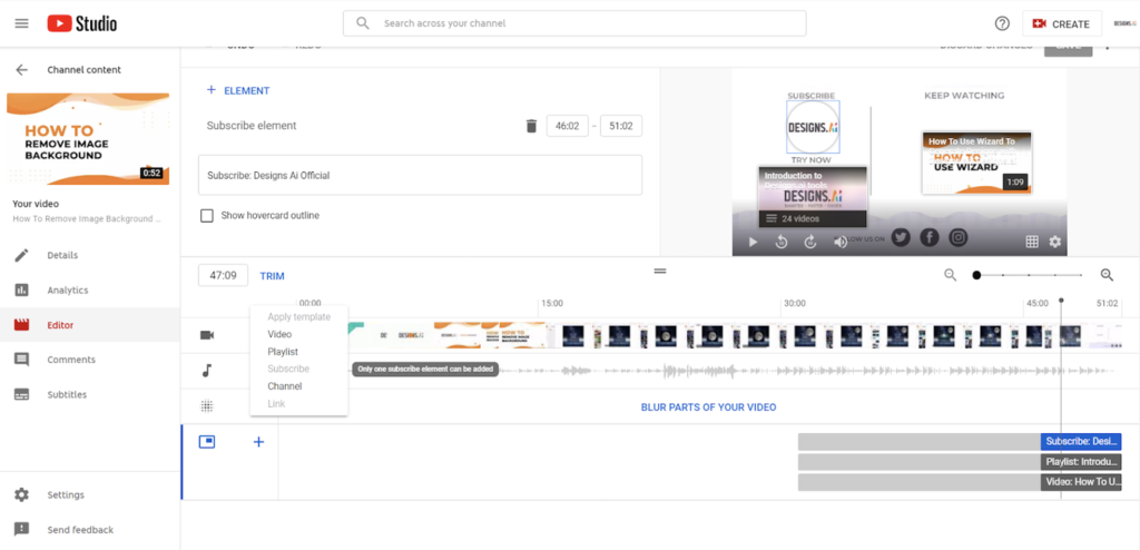 Designs.ai   Must knows to build a quality YouTube channel for your business - YouTube video editor