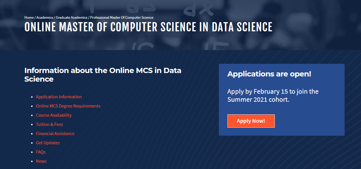 Online Master of Computer Science in Data Science [University of Illinois]