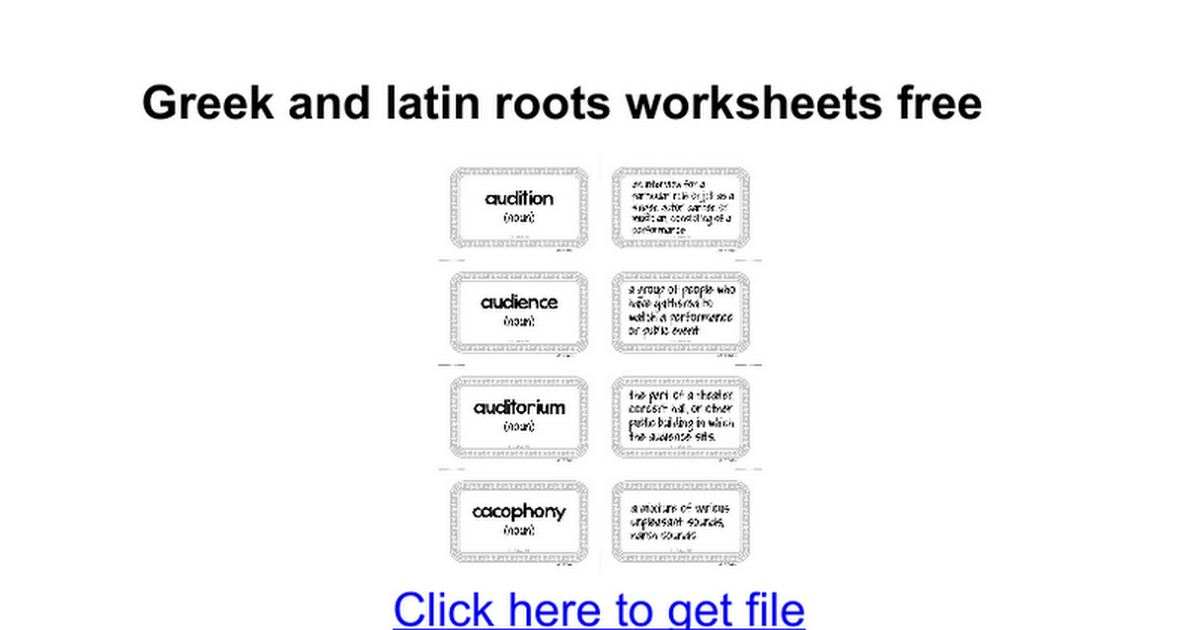 Greek and latin roots worksheets free - Google Docs