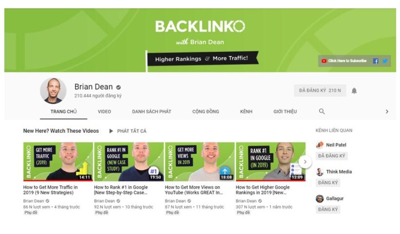 SEO: kênh youtube của Brian Deam
