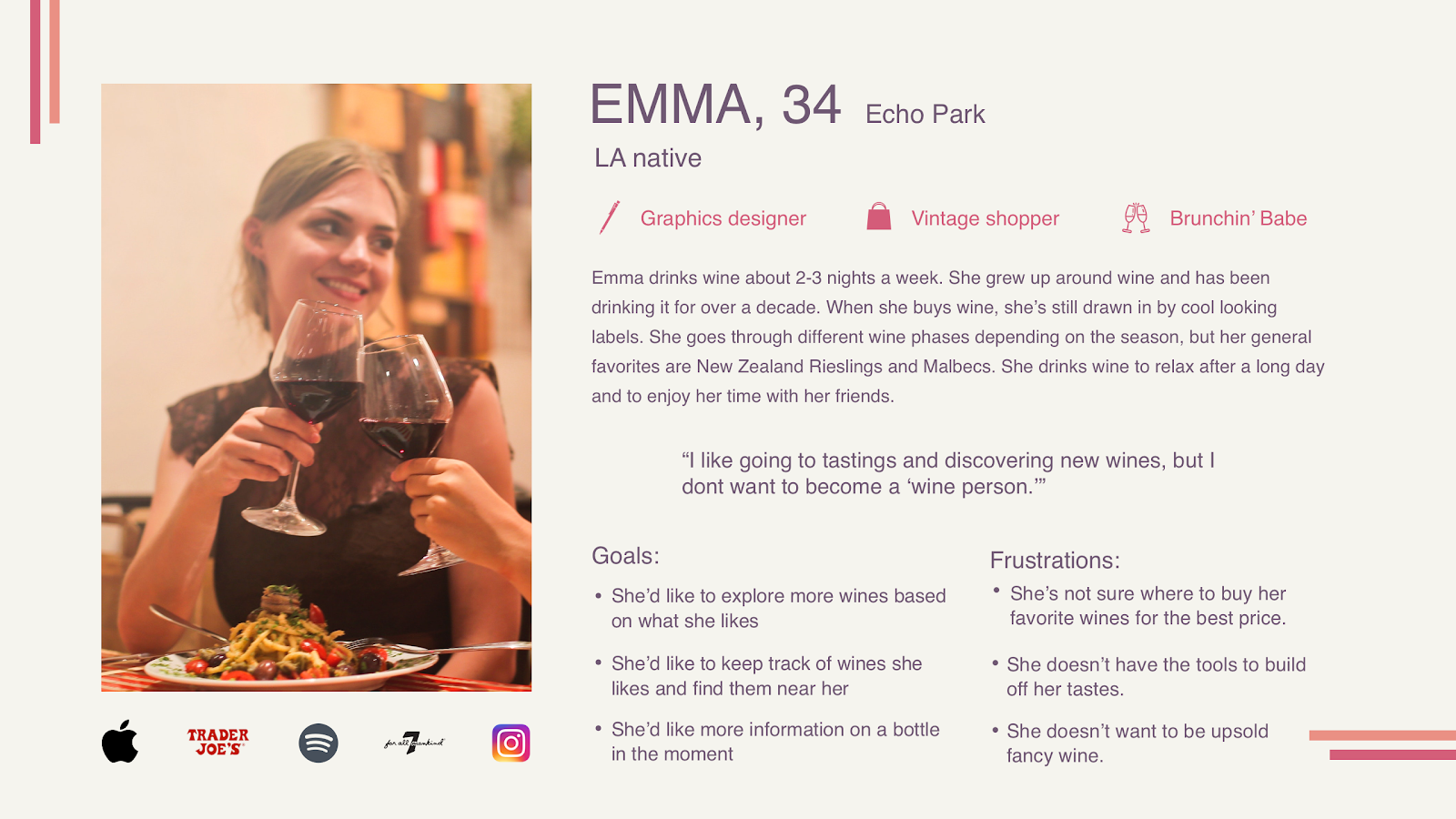 A sample user persona for a graphic designer named Emma, built out in the process of creating an experience map.