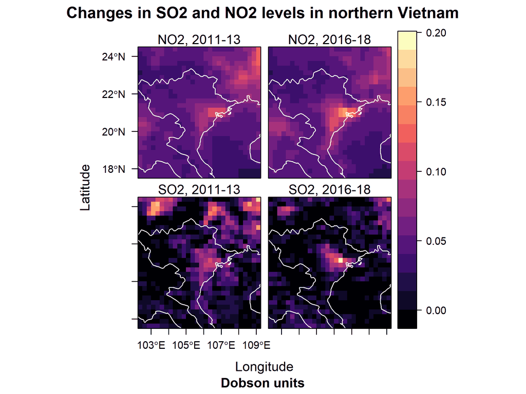 Vi sao o nhiem Ha Noi thuong nang nhat vao nhung ngay co gio dong? hinh anh 5 Changes_in_SO2_and_NO2_levels_in_northern_Vietnam.png