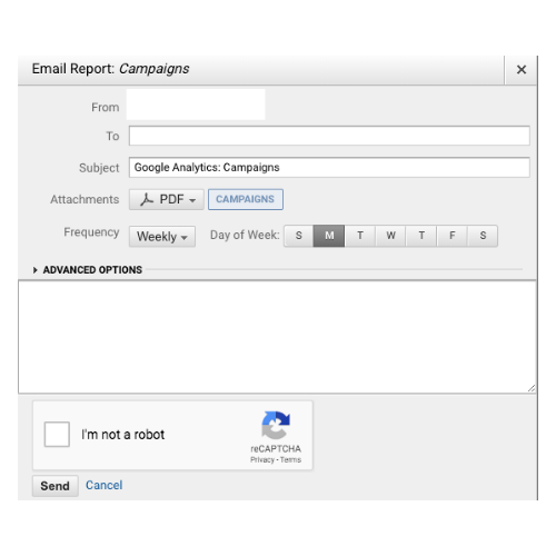 Image of Google's report sharing function