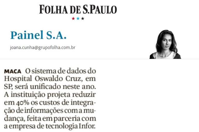 Infor é destaque na coluna Painel S.A da Folha de São Paulo