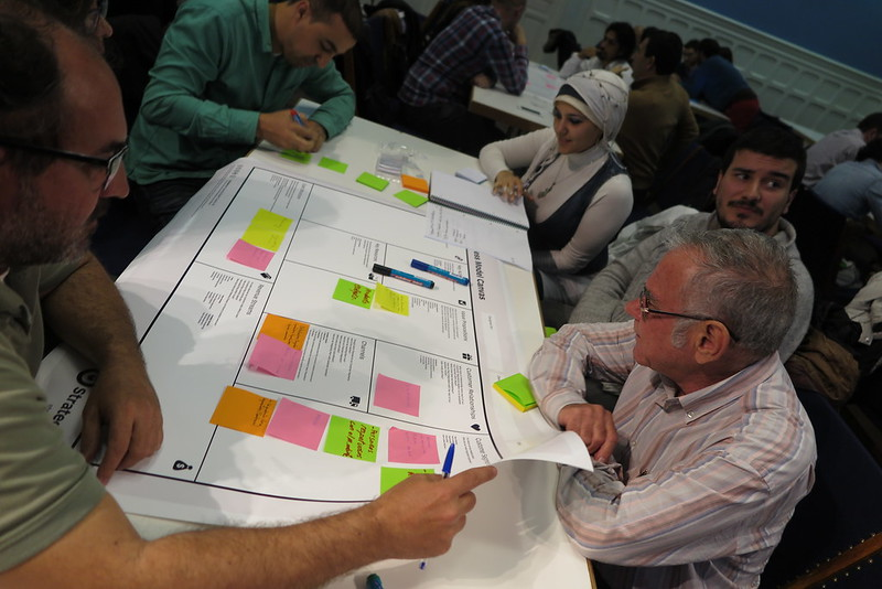 Img Alt: Participants engage in a Business Model Canvas workshop at the Madrid US Embassy.
