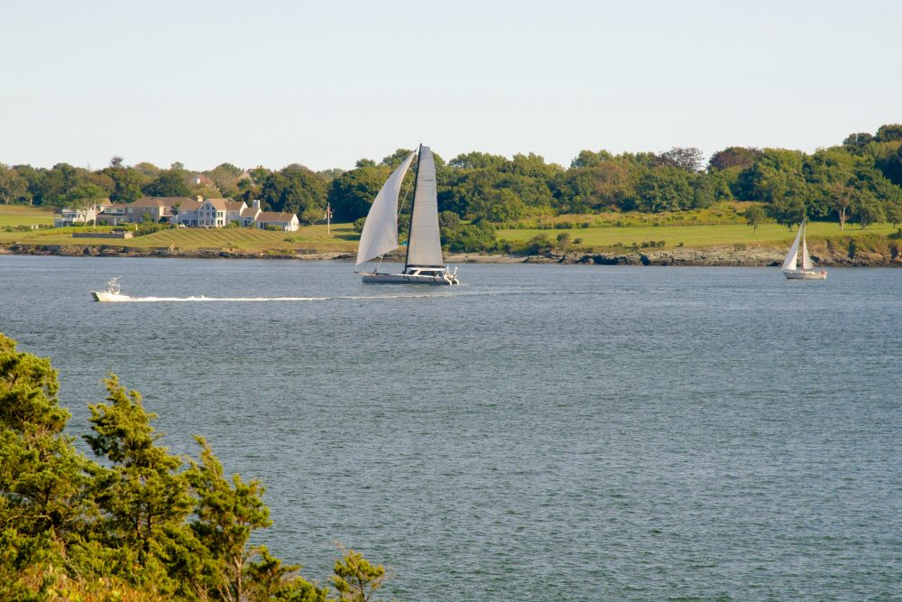 View of sailboats in the water at Fort Wetherill State Park