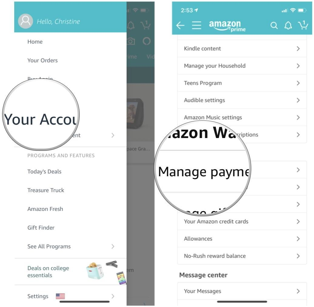 Your account and Manage Payment Options