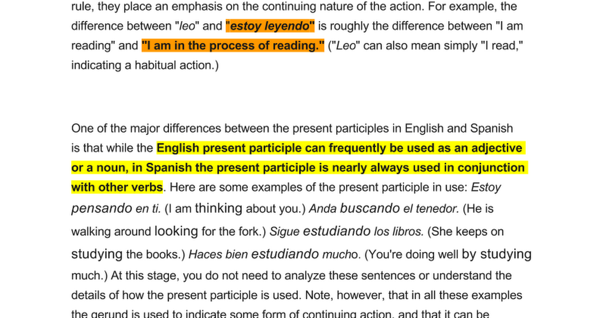 Notes Participles As Verbs And Adjectives Google Docs